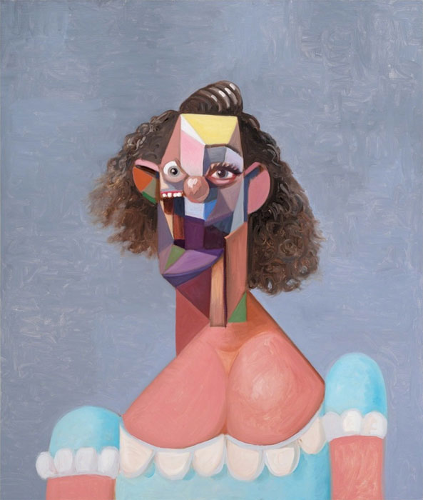 George Condo, Young Girl with Blue Dress.